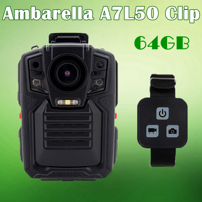 Free shipping Ambarella A7 Police Body Worn Camera 64GB 1296P Night Vision w Remote Control
