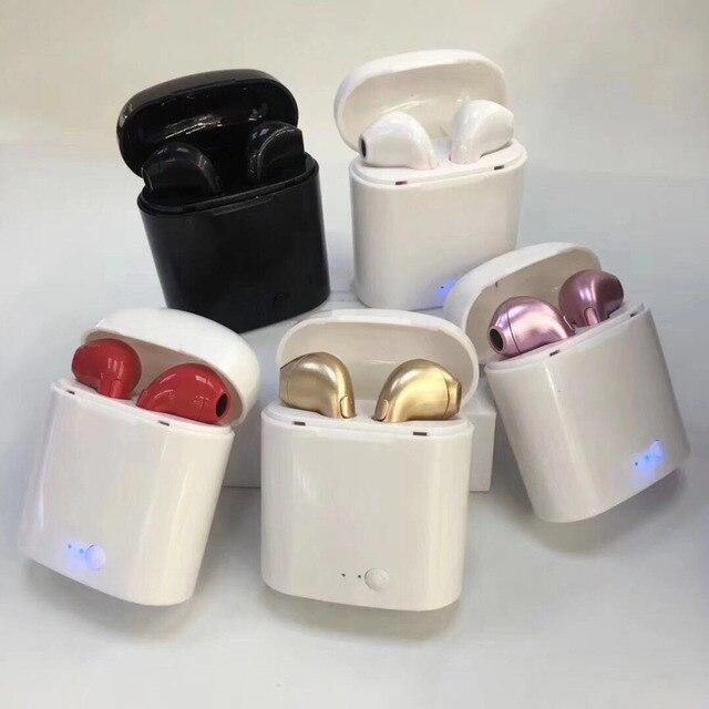 Наушники-вкладыши для I7 i7s tws Bluetooth наушники гарнитура Беспроводные наушники с микрофоном с зарядной коробкой можно выбрать