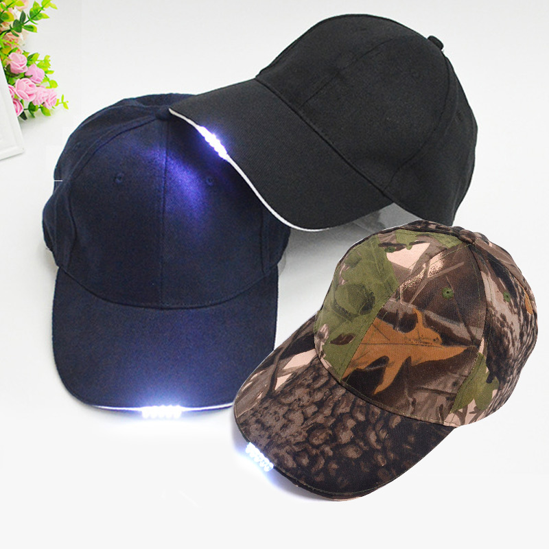 Bright Glow in Dark Reading Fishing Jogging Light Up LED Sport Hat Baseball Caps Luminous Holiday Hat for Unisex JL longkeeper 6 colors led light flash baseball caps fashion led lighted glow club party sports black fabric travel hats chapeu