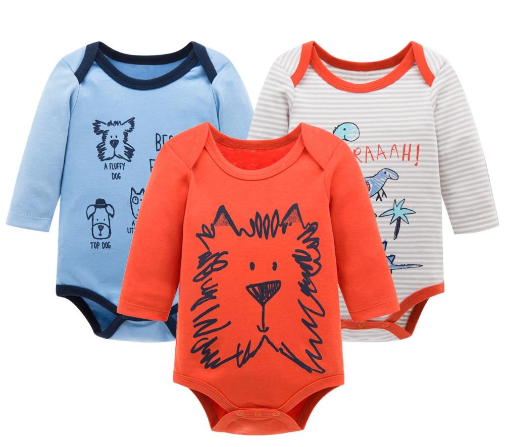KAVKAS 3Pcs Unisex Baby Rompers Autumn Newborn Baby Clothes Girls Boys Clothes Jumpsuits roupas de bebe Infantil Costumes 0-12M