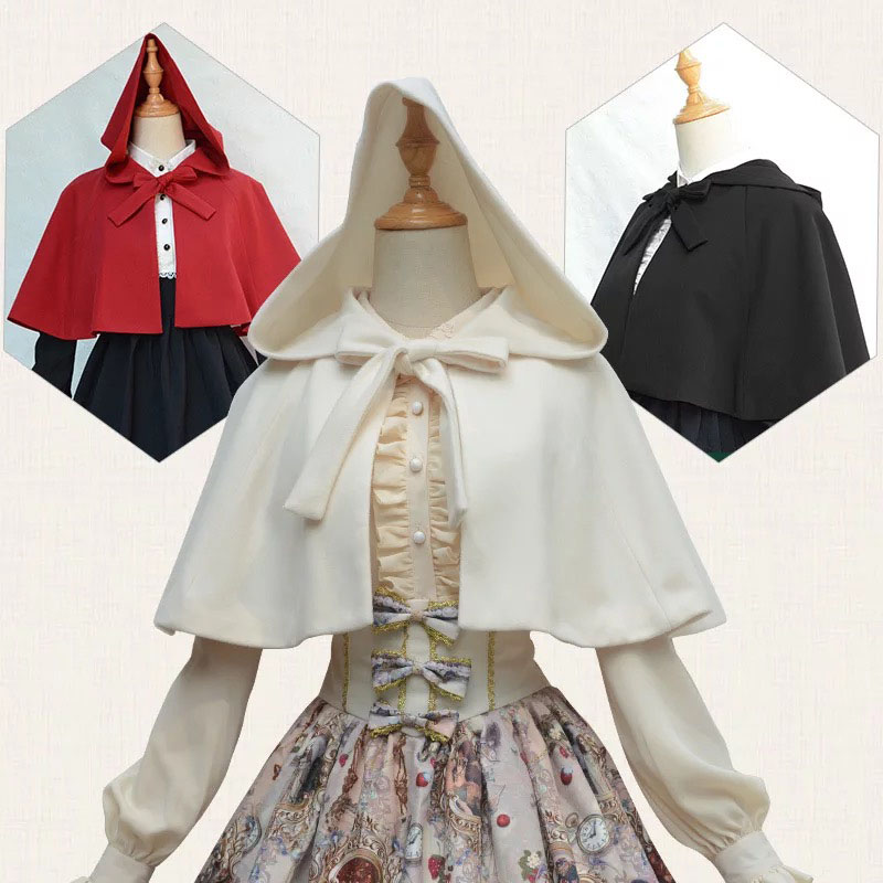 Adult Women Halloween Little Red Riding Hood Cloak Ladies Costume Shawl Clothing Black Lolita Renaissance Gothic Hooded Capelet