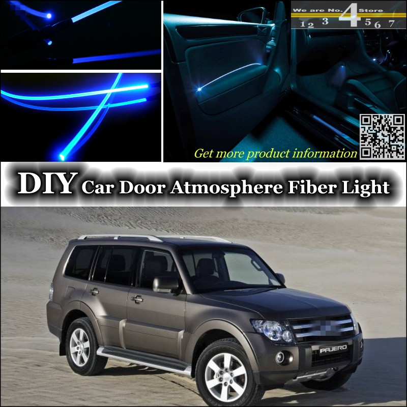 Interior Ambient Light Tuning Atmosphere Fiber Optic Band Lights For Mitsubishi Pajero Inside Door Panel Illumination Tuning