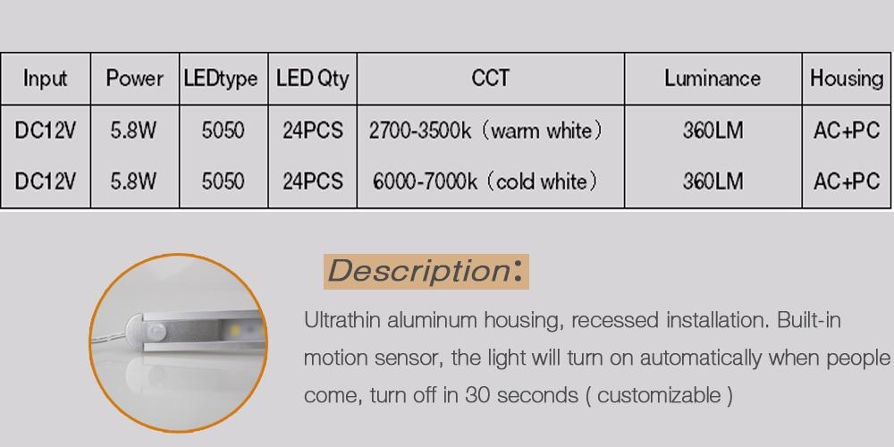 Neweat PIR Sensor Lamp 50cm 24Leds 5050 Sense Intelligent Light - Pencahayaan LED - Foto 4