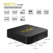 MX10 RK3328 Четырехъядерный 4 ГБ ОЗУ 32 Гб ПЗУ набор верхней коробки приемник с 2,4G WiFi Android 9,0 Android tv box