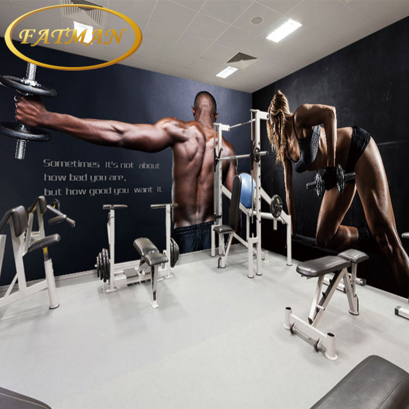 Free Shipping Personalized fashion movement muscle beauty handsome weightlifting large poster graffiti wallpaper wallpaper Gym C strength training