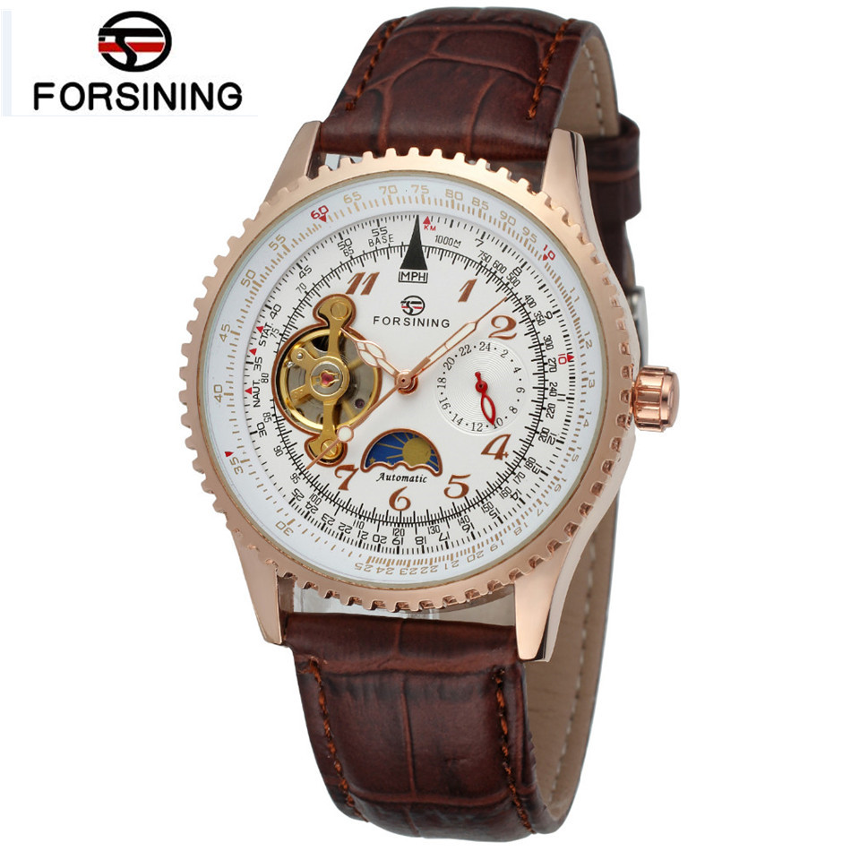 Forsining Montre Homme Mens Moon Phase Watches Automatic Mechanical PU Leather Wrist Watch Free Ship  Gifts