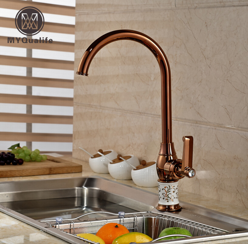 Luxury Rose Golden Ceramic Kitchen Sink Mixer Faucet Deck Mount Wash Kitchen Faucet Single Handle