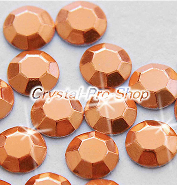 1440 pieces Copper 3mm 10ss ss10 Faceted Hotfix Rhinestuds Iron On Round Beads Aluminium Metal Design Art (u3m-Copper-10 gr)