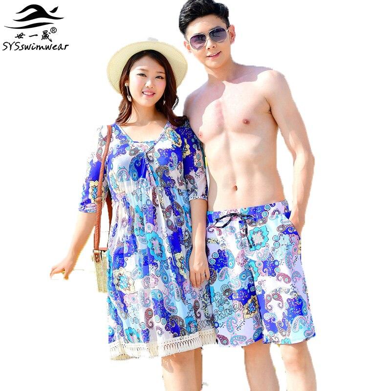 Summer Beach Top Quality Plus Size 3 Pieces Sexy Women Bikini Swimwear with Retro Smock Lovers Swimsuit Hot Print Men Shorts