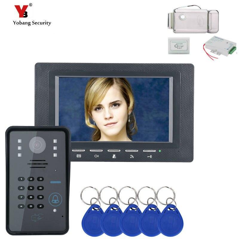 Yobang Password di Sicurezza RFID di Controllo di Accesso 7Inch Ha Fissato il Video Telefono Del Portello Sistema di Video Citofono Visivo Campanello Serratura ElettricaYobang Password di Sicurezza RFID di Controllo di Accesso 7Inch Ha Fissato il Video Telefono Del Portello Sistema di Video Citofono Visivo Campanello Serratura Elettrica