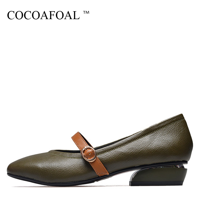 COCOAFOAL Woman Mary Janes Shoes Black Green Fashion Sexy High Heels Shoes Buckle Strap Genuine Leather Pumps Casual Stiletto xiaying smile woman pumps shoes women mary janes british style fashion new elegant spring square heels buckle strap rubber shoe