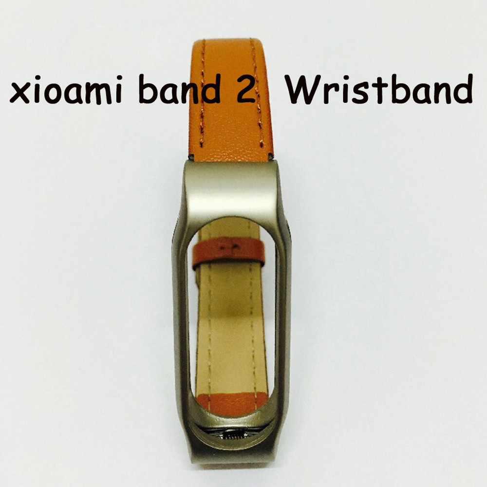 Xiaomi Mi için Band 2 Suni Deri + Metal Kayış Bilek Bandı Için Mi band 2 Miband 2 Akıllı Aksesuarları için Screwless Bilezik