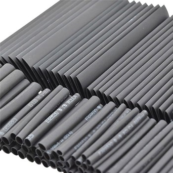 127pc Black Heat Shrink Tube Assortment Wrap Electrical Insulation Cable Tubing Cable Sleeves