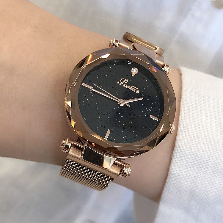 Image 3 - 2019 Luxury Brand lady Crystal Watch Magnet buckle Women Dress Watch Fashion Quartz Watch Female Stainless Steel Wristwatches-in Women's Watches from Watches