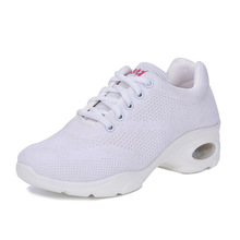 New Air Bag Sole Shoes Fitness Dancing Shoes Flying Fabric Comfortable Breathable Non-slip Flat Sole Shoes For Women's цена