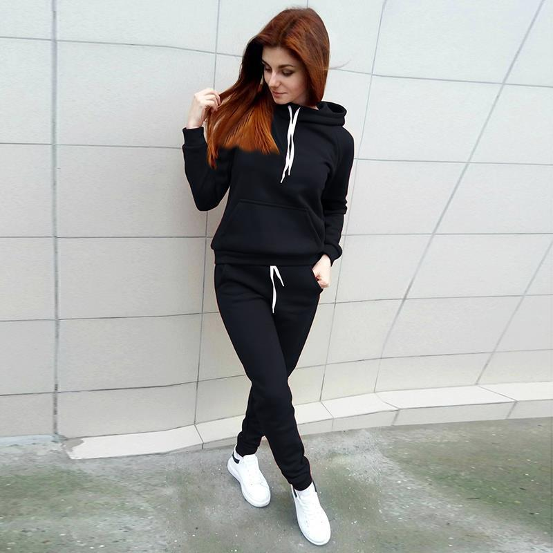 Women's Fashion Hooded Sweatshirt Long Sleeve Casual Pullover Sport Hoodies Set  New Style Wine Red/Khaki/Black Available
