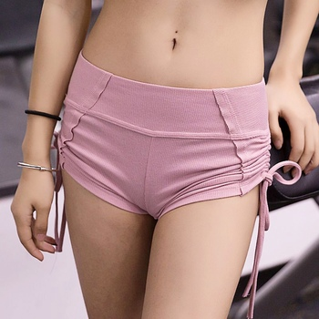 Pink Color Girl Cotton Sporting Lace Up Shorts Solid Slim High Waist Shorts For Women Elastic Waist Skinny Simple Women Shorts girl