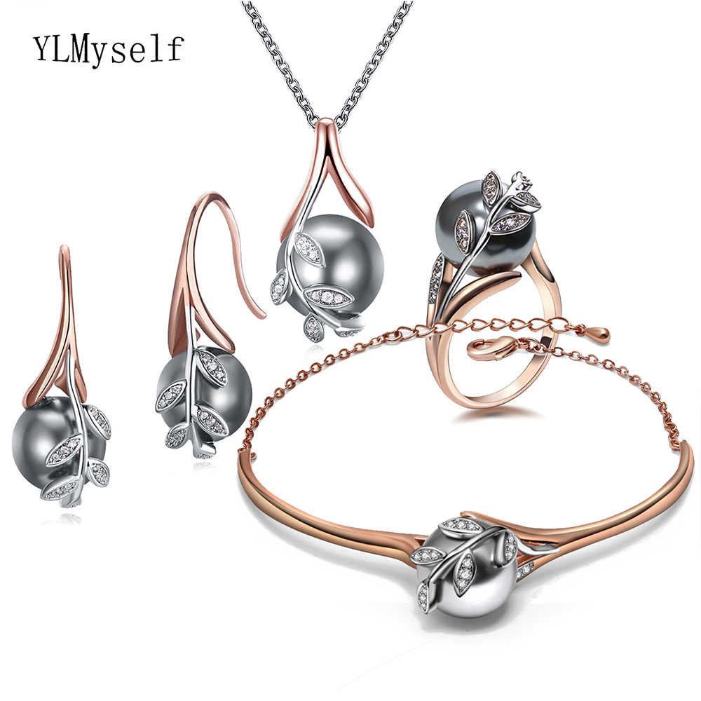 Big discount sale Pendant Necklace Bangle Earrings ring best gift for mom Rose gold Grey pearl Trendy leaf 4pcs jewelry set