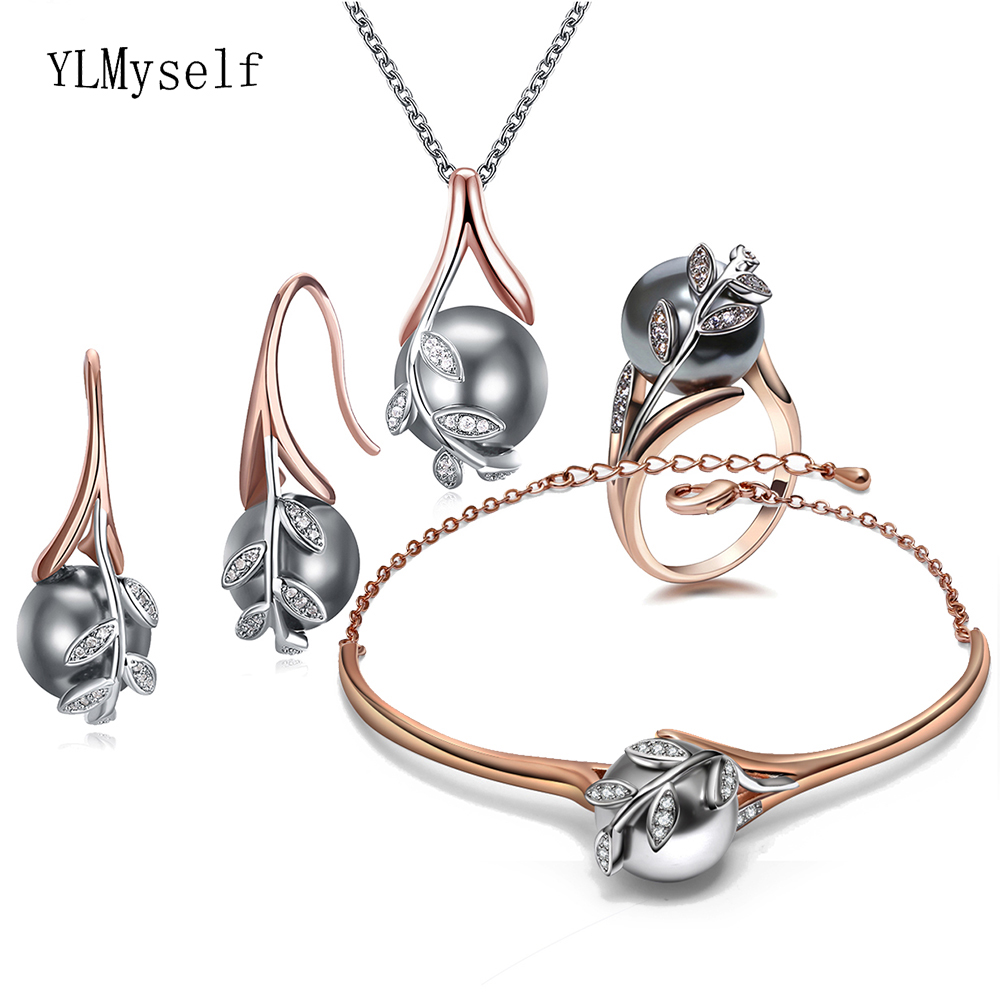 Big discount sale Pendant Necklace Bangle Earrings ring best gift for mom Rose gold Grey pearl Trendy leaf 4pcs jewelry set(China)