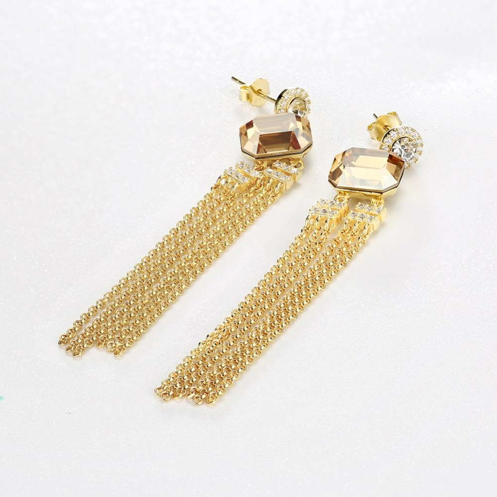 925 Sterling Silver Women Earrings Square Pink Crystal S925 Long Tassel Drop Earrings for Lady Gift Party Fine Jewelry Ear Wears in Earrings from Jewelry Accessories