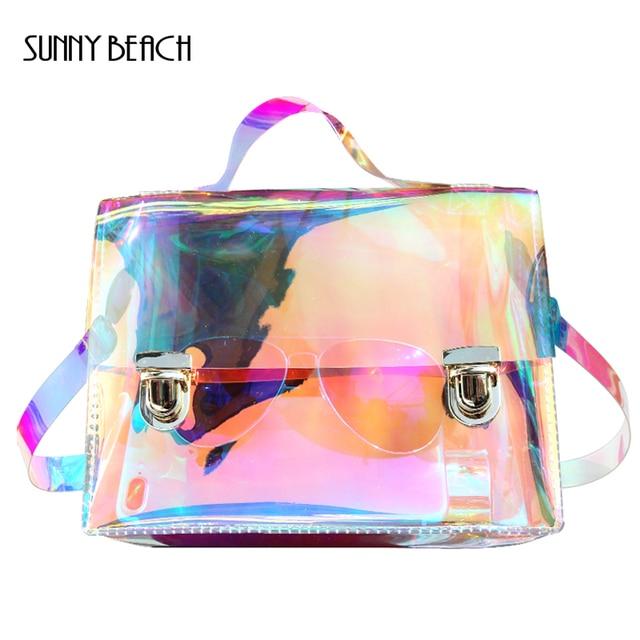 40c21bf2a81f9 Sunny plage mode Transparent hologramme Laser fourre-tout sac femmes  holographique sac célèbre marque école