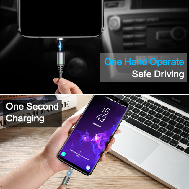 Magnetic USB Cable For SmartPhone 2.4A 1M Magnet Charger