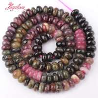 FREE SHIPPING DIY BRACELET NECKLACE JEWELRY MAKING 3X6MM RONDELLE MULTI COLOR NATURAL TOURMALINE SPACER LOOSE BEADS