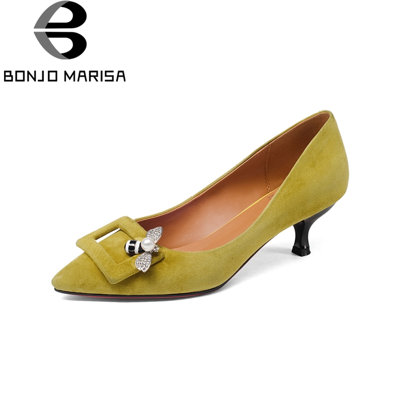 BONJOMARISA Brand New Pointed Toe Genuine Leather Thin Med Heels Solid Shoes Woman Fashion Spring Pumps Big Size 33-43 free shipping 2016 spring autumn pointed toe rhinestone med heels woman shoes big size40 21 42 43 nubuck leather pumps shoes