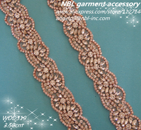 1 YARD Hand Beaded Sewing Rose Gold Clear Crystal Rhinestone Applique Trim For Wedding Evening