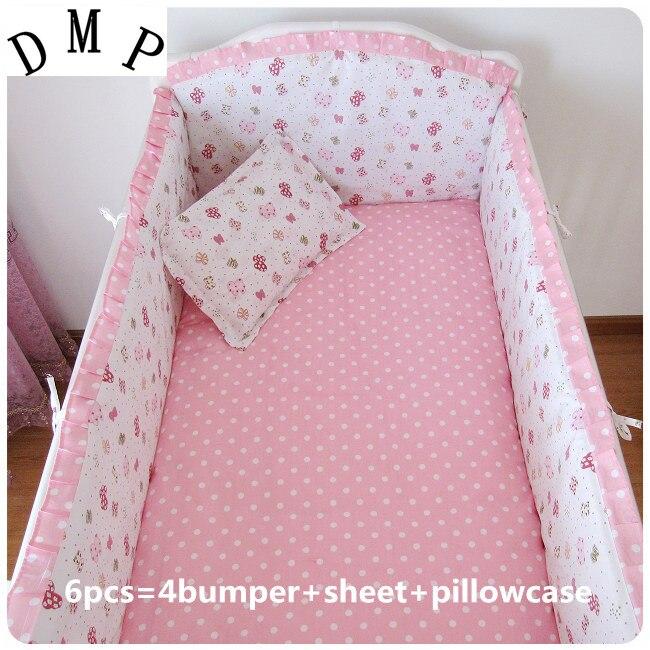 Promotion! 6pcs Pink crib bedding set cotton baby bedding piece set unpick and wash crib set (bumpers+sheet+pillow cover)