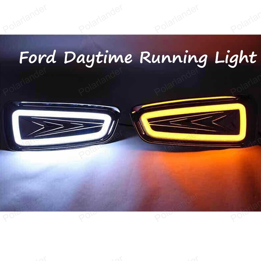 ФОТО 2PCS Car Auto Waterproof LED DRL Daytime Running Light front bumper grille grill Cover For Ford F150 SVT Raptor 2009-2014