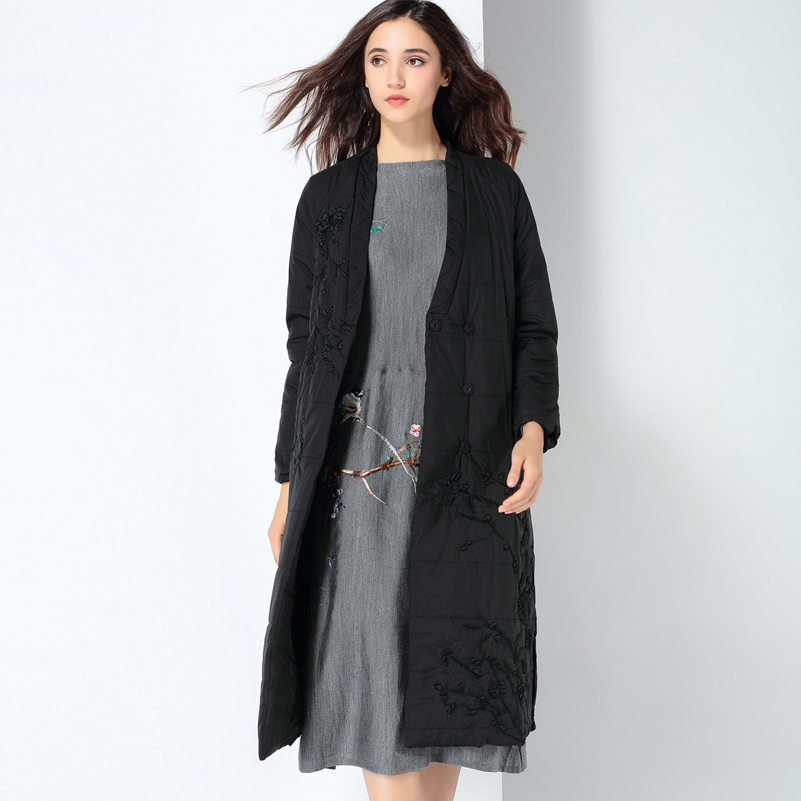 YNZZU 2019 новая зимняя коллекция брендовый толстый женский пуховик с вышивкой в китайском стиле, винтажные женские парки, пальто A1083 - 6