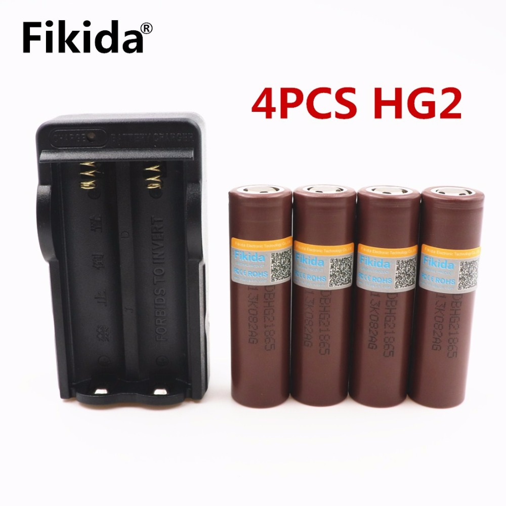 Fikida 4pcs/ LG HG2 18650 3000mah electronic cigarette Rechargeable batteries power high discharge power+18650 chager