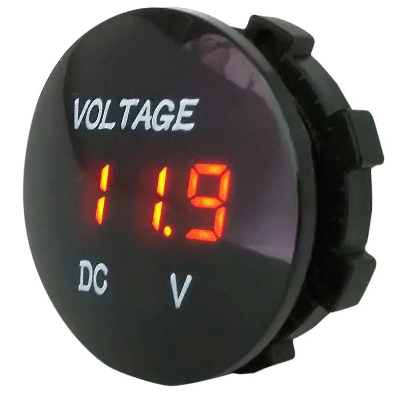 12V 24V Waterproof Car Motorcycle Red LED Digital Display Voltmeter Volt