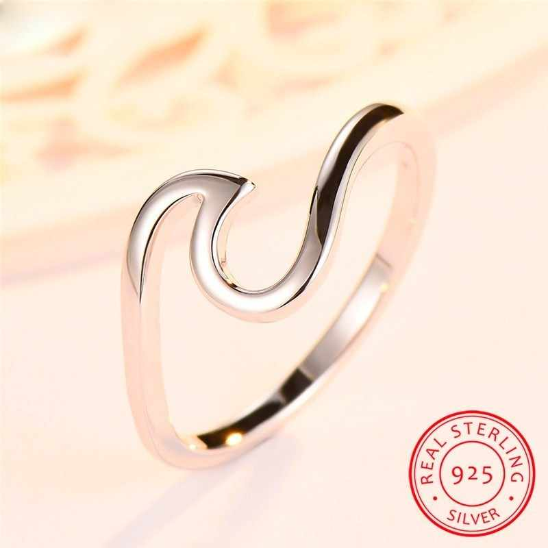 Real 925 Sterling Silver Wave แหวนผู้หญิงผู้ชายแฟชั่นเครื่องประดับหมั้นแหวนแฟน & แฟนแฟนของขวัญ