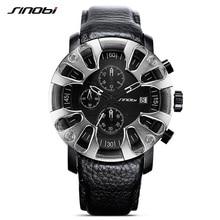 SINOBI Watches 2017 Top Brand Luxury Quartz Watches Black Men Business Sports Watches Leather Strap Relogio Masculino #9760