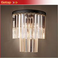 American Country Style Luxury Crystal Wall Lamp For Living Room Bedside Asile Porch Light With LED Bulbs 3 colors for crystal