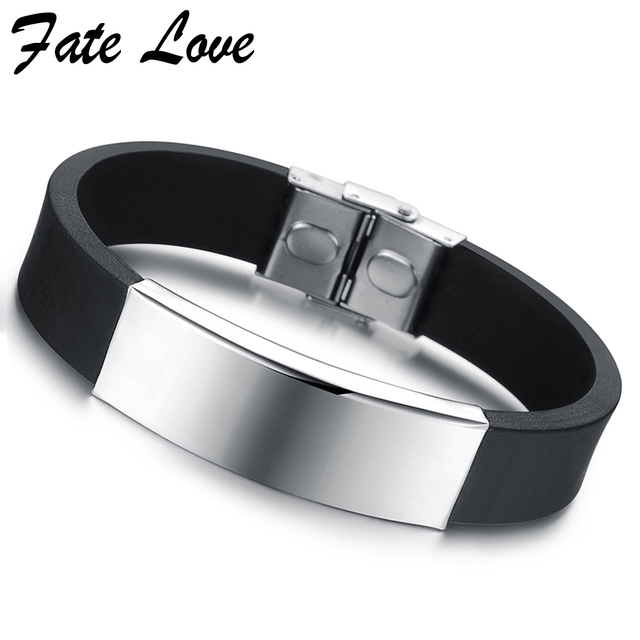 Mens Silicone Bracelet Wristband Men Jewelry Aliexpress Cool Bracelets Bangles Stainless Steel Jewellery Accessories Pulseras