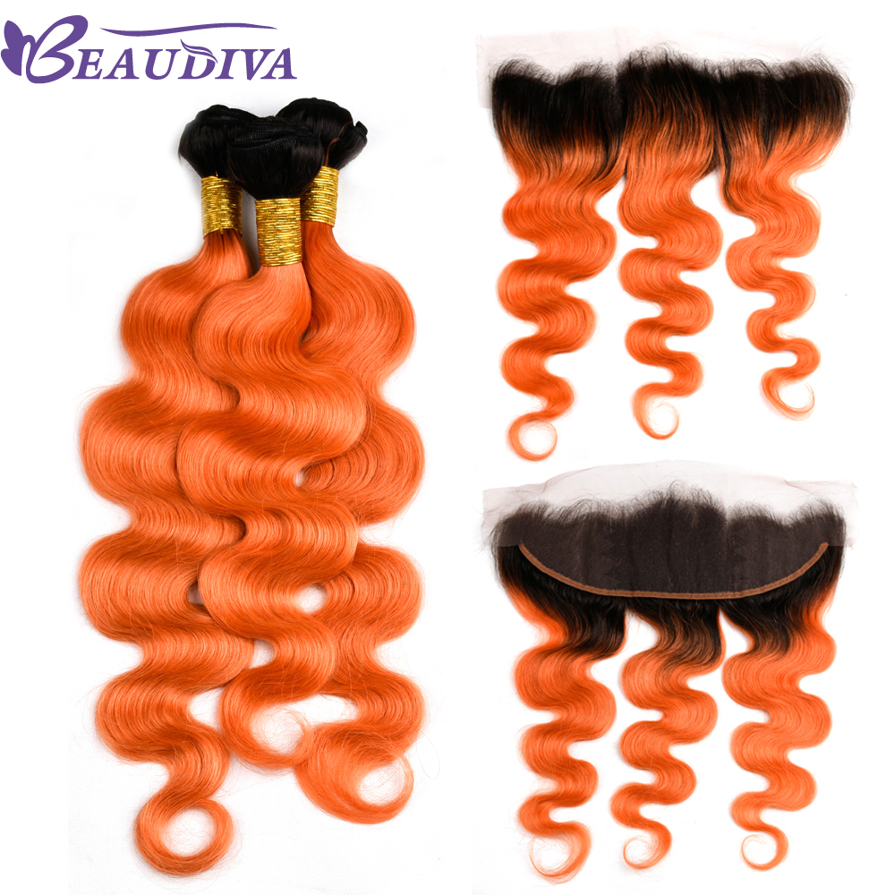 Beaudiva Hair Malaysia Body Wave Hair With Free Part Lace Closure TB/ORANGE Remy Hair Bundles Four Piece 13*4 lace Frontal