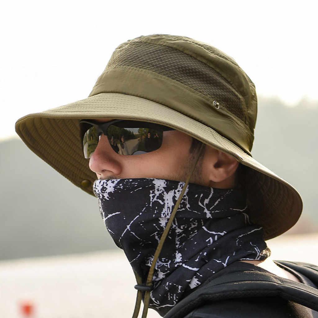 Perimedes หมวกตกปลา Safari หมวกป้องกันดวงอาทิตย์แห้งเร็วหมวกหมวกตกปลากลางแจ้งน้ำหนักเบากีฬาหมวก # y