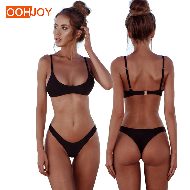 2018 New Solid Color Micro Bikini Set Women Swimsuit S-2XL Sexy Thong Bikini Low Waist Swimwear Bathing Suit Brazilian Tankini