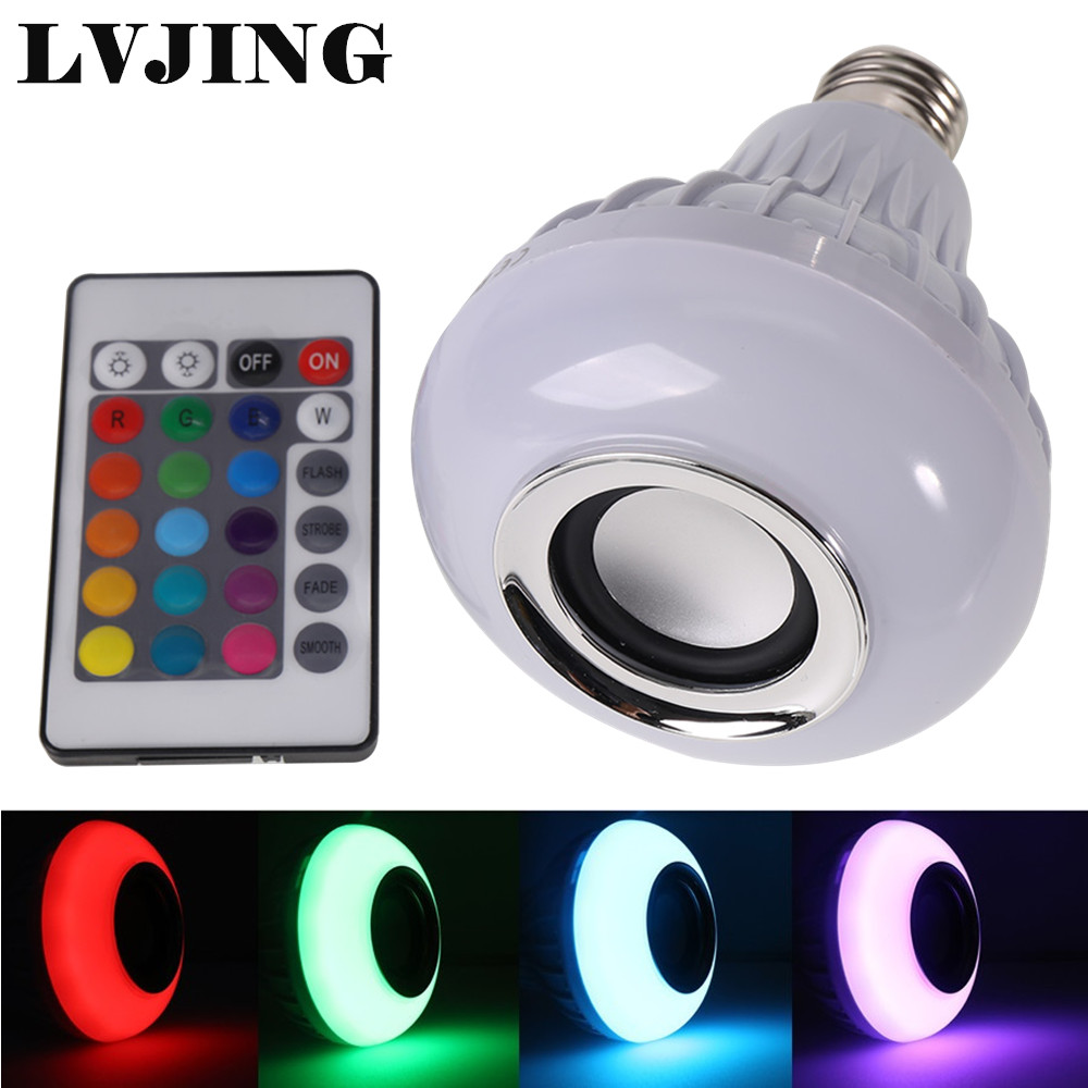 RGB LED Lamp Wireless Bluetooth Speaker Bulb Music Playing E27 LED Lighting with Remote Control led rgb bulb lamp app remote control e27 speaker bluetooth 4 0 music led night light