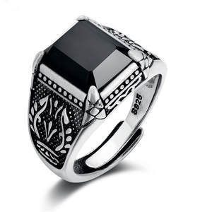 VOJEFEN Ring-Band Agate Gothic 925-Sterling-Silver Black Vintage Biker Men Embossed Square