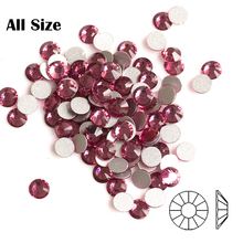 2058NoHF Rose Color DIY Strass All Sizes Non Hotfix Nails Crystal Rhinestones Flatback Pixie Nail art Decorations