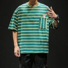 цена на Simple Cotton T-shirt Men's Summer Short-sleeved Striped Round Neck Original Design Men's T-shirt XL Streetwear  Men T Shirt