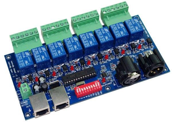 best price 1 pcs 8CH Relay switch dmx512 Controller XLR+RJ45 dmx512 decoder