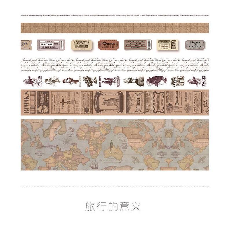 7rolls/set Travel Series Vintage Map Stamp European Retro Character Decoration Washi Tape DIY Diary Scrapbooking Masking Tape
