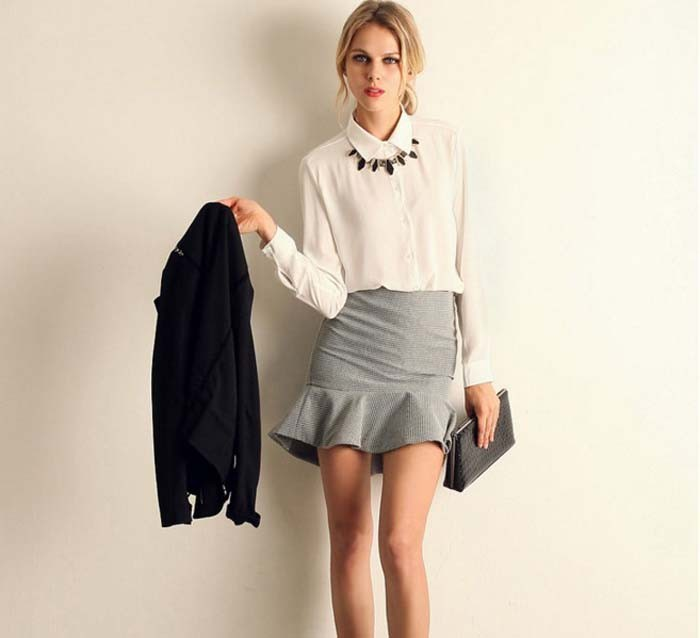 1PC Women Chiffon Blouse Long Sleeve Shirt Women Tops Office Lady Blusas Femininas Camisas Mujer Z231 6