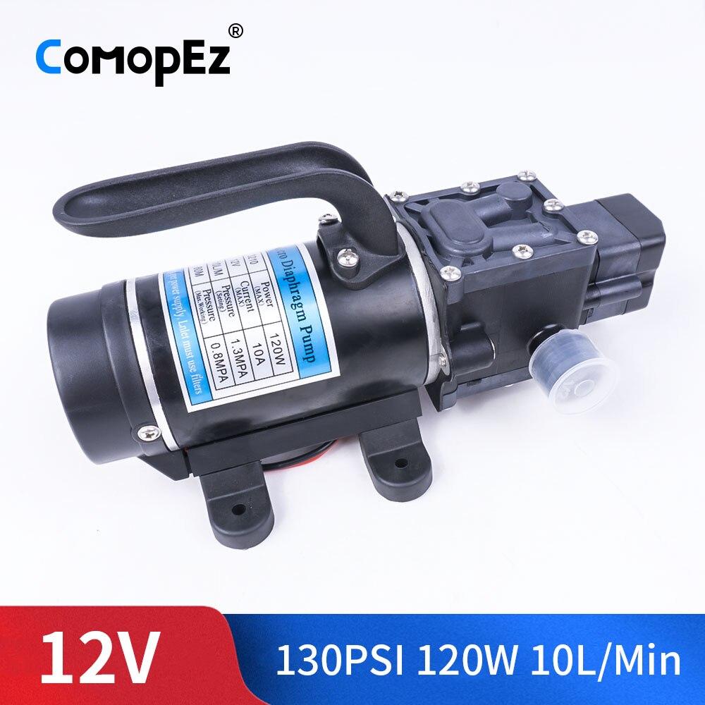 DC 12V 120W 130PSI 10L / Min Agricultural Electric Water Pump Black Micro High Pressure Diaphragm Water Sprayer Car Wash