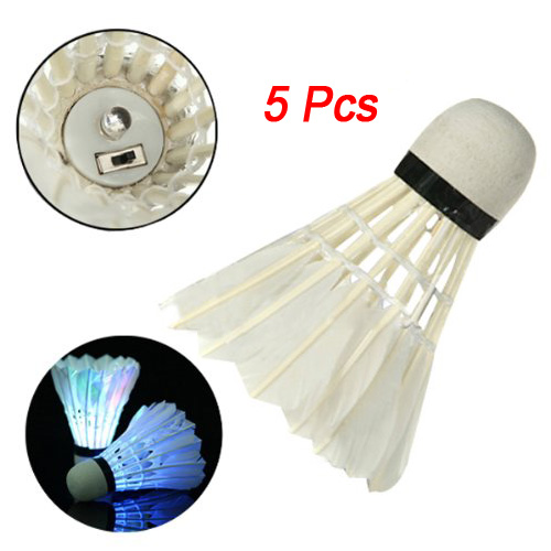 SZ-PROMOTION!5Pcs Beautiful Green Dark Night LED Badminton Shuttlecock Birdies Lighting New
